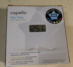 Capello Star Alarm Clock 7 Color Backlit Battery Operated