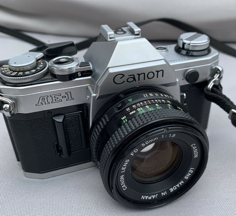 Canon AE-1 SLR 35mm Camera with 50mm f/1:18 Lens Japan AE 1