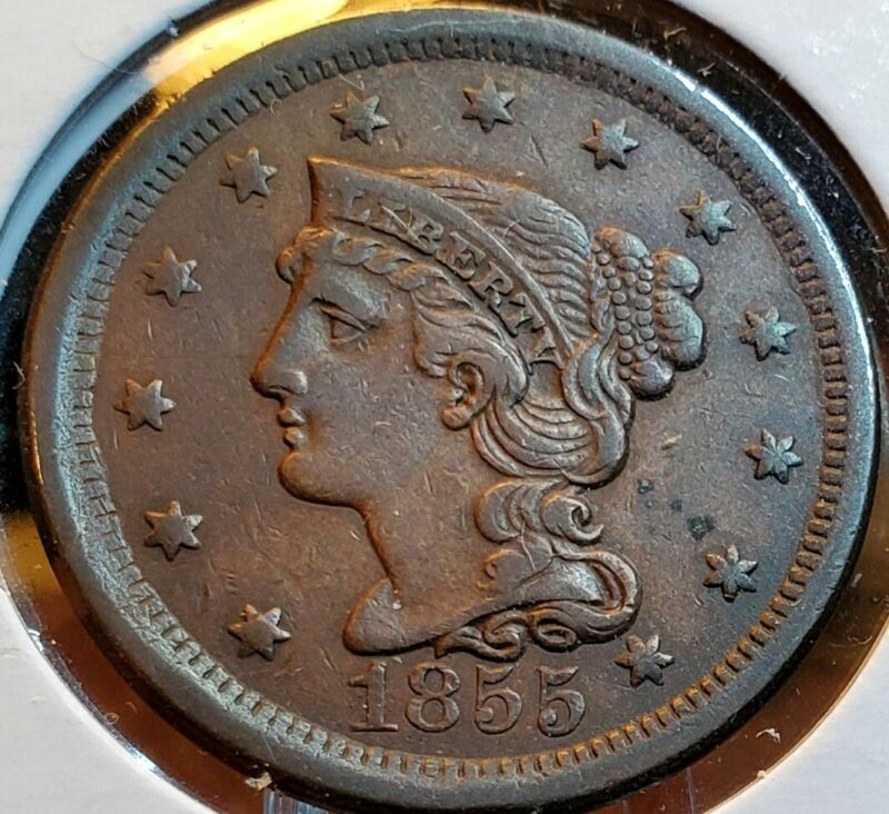 1855 BRAIDED LARGE CENT CHOICE AU 💎 NICE COLOR AND SURFACES