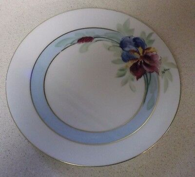 "Vintage UNO Favorite 6"" plate gold trim blue green red flowers signed Luken"