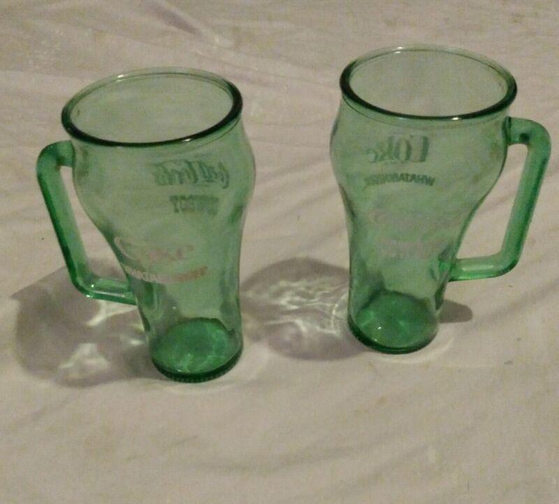 Set of 2 Vintage Coca-Cola Whataburger Cowboy Handle Mugs Green Glass 1980