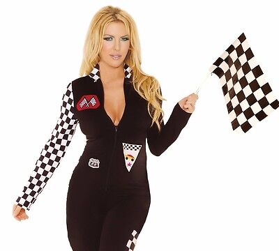 Sexy Racecar Costume 3X/4X Women Plus Cosplay Halloween Nascar Black Romper Set - 3x Halloween Costume Womens