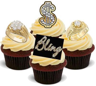 Bling Dollarzeichen Ring Mix-12 essbare hochwertige stehende Waffeln Karte Kuch