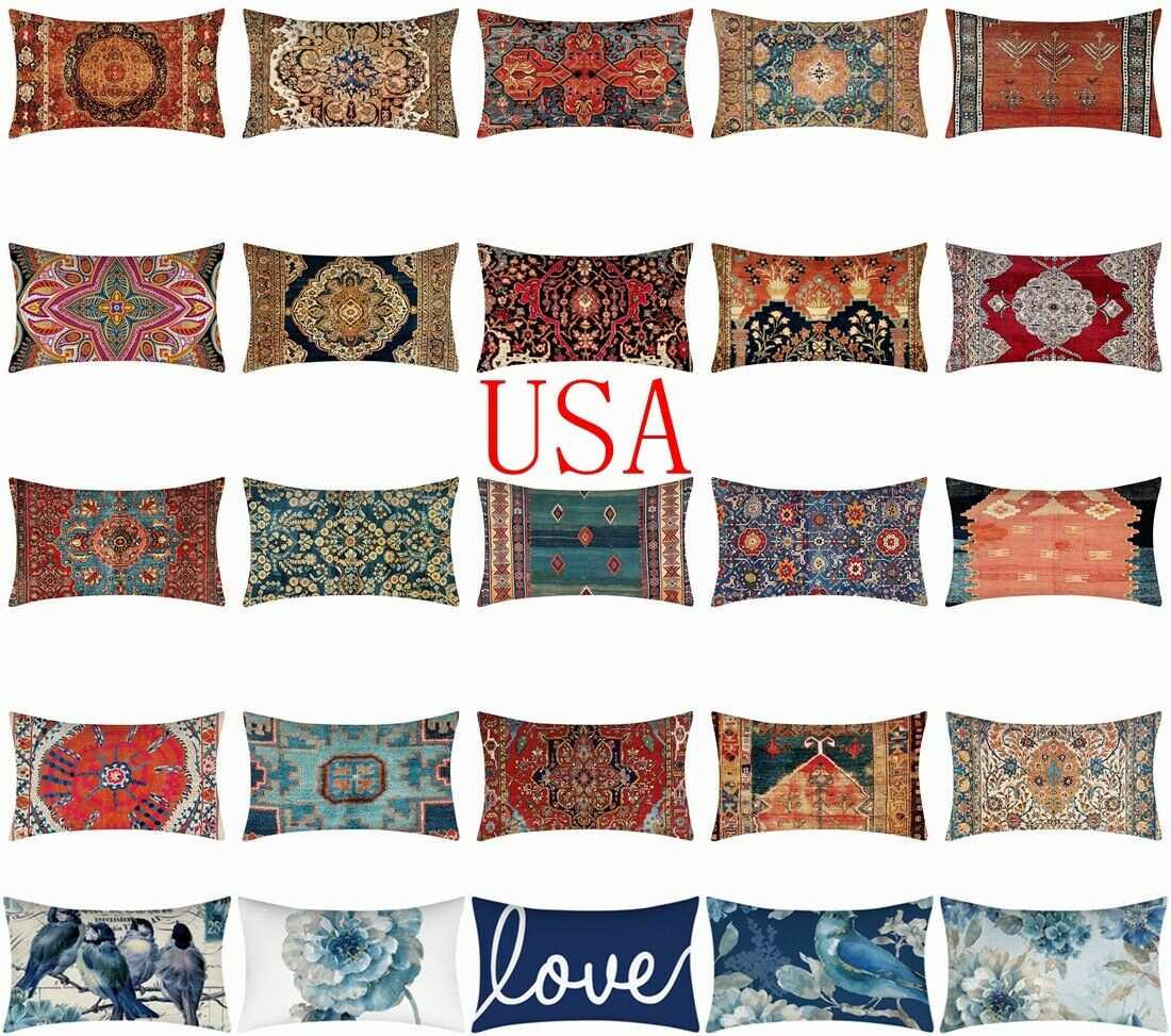 """12x20"""" Cushion COVER White Double-Sided Lumbar Decorative So"""