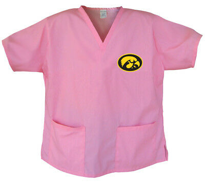 University of Iowa Pink Logo SCRUBS Top XL CUTE IOWA HAWKEYES LADIES SHIRT