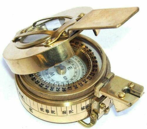 Antique Nautical Military Compass Vintage Shinny Brass Finish Maritime Compass
