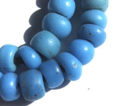 31 RARE AMAZING OLD SMALL TURQUOISE PADRE ANTIQUE BEADS AFRICAN TRADE