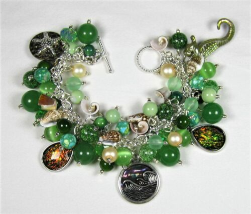 Altered Art Chunky Hand Crafted Summer Green Sea Life Beaded Charm Bracelet