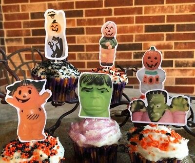 6 Handmade Halloween Cupcake Toppers,Appetizer Picks Ghost BOO,Monster,Scarecrow