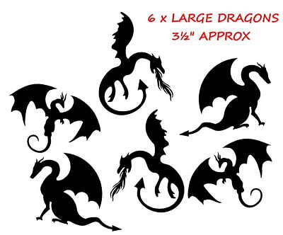 6 x LARGE DRAGONS SILHOUETTE DIE CUTS, CARD MAKING