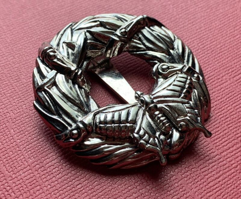 Vintage Signed JOHN HARDY BUTTERFLY SCARF CLIP Silver Wreath Dress Clip Circle
