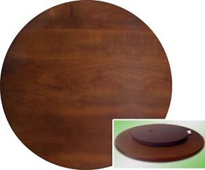 Wood Very Dark Espresso Brown Lazy Susan Turntable Tray 22 Inch Table Butler NEW
