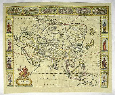 KONTINENT ASIEN CHINA RUSSLAND KUPFERSTICH KARTE MAP OF ASIA DE WIT 1690 #C840S