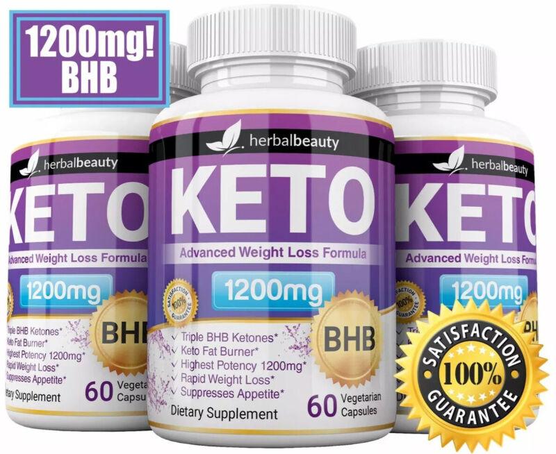 3 x Herbal Beauty KETO BHB 1200mg PURE Ketone FAT BURNER Weight Loss Diet Pills
