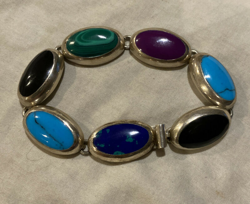 Vintage Signed CII Sterling Silver Mexico Stone Inlay Bracelet 925 *NEW
