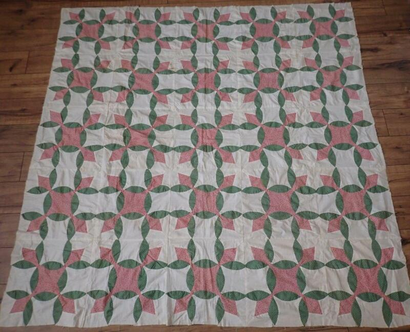 Graphic Pattern! Vintage Pink & Green QUILT TOP Wandering Foot Variation