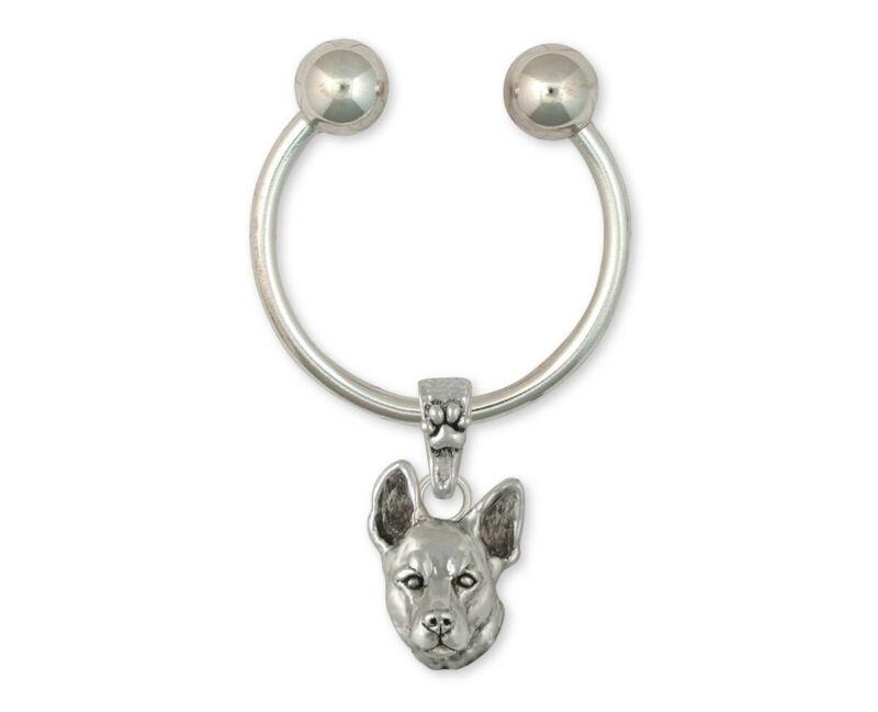 Australian Cattle Dog Key Ring Jewelry Sterling Silver Handmade Dog Key Ring ACD
