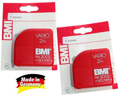 2x BMI Taschenbandmaß Vario 2 Meter + MADE IN GERMANY + Maßband ROT 2m
