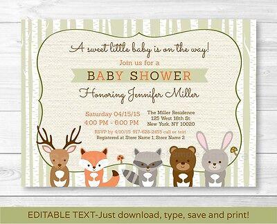Woodland Animals Fox Deer Bear Neutral Baby Shower Invitation Editable - Woodland Baby Shower Invitations