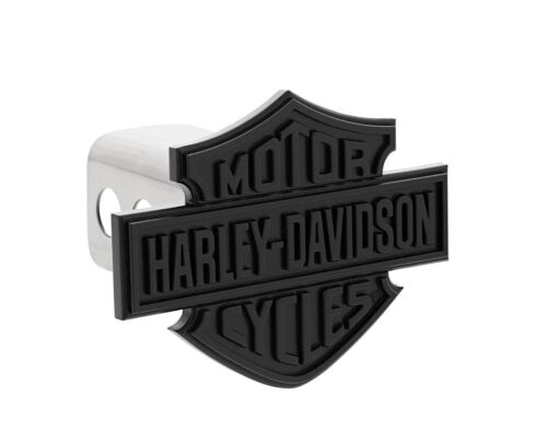 Harley-Davidson Trailer Tow Hitch Cover Plug Featuring Matte Black Bar & Shield