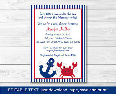 Nautical Crab Under The Sea Printable Baby Shower Invitation Editable - Under The Sea Baby Shower Invites