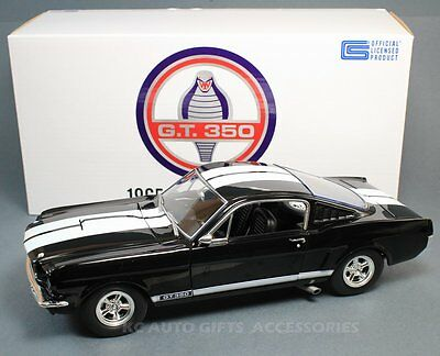 Acme A1801802B 1965 Shelby GT350 Black with White Stripes 1:18 Scale Diecast