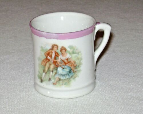 Antique Small Porcelain Childs Mug Colonial Couple Germany