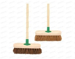 10-Sweeping-Brush-with-Handle-Stiff-Bassine-Soft-Coco-Set-Shafted-Yard-Broom