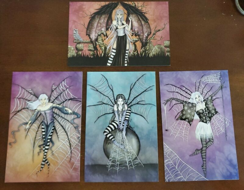 Amy Brown greeting cards, lot of 4 with envelopes, goth fairies, unused