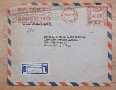 Mayfaristamps Israel 1959 Tel Aviv Jaffa Registered Metered Airmail to US Cover