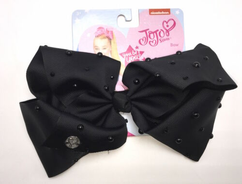 JoJo Siwa Signature Collection Large Black Pearl Cheer Hair Bow Clip JJ009D New