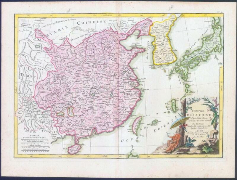 1762 Original Antique Map of CHINA KOREA and the ISLANDS OF JAPAN FORMOSA (BLM)