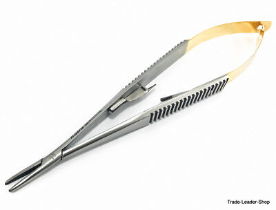 Tc Natra Castroviejo Needle Holder 14 Cm Straight With Lock Gold Surgical Suture