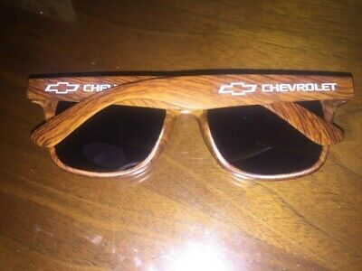 Chevy Corporate Sunglasses UV New In Bag SIlver OR Brown Wood Texture (Corporate Sunglasses)