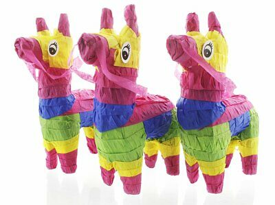 Pack of 3 Miniature Donkey Pinatas - Rainbow Donkey Mini-Sized Free Shipping (Pinata Donkey)