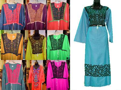 Egyptian Cotton Embroidered Kaftan Caftan Long Dress Arabic Abaya Jilbab M L XL