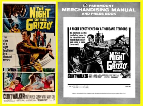 NIGHT OF THE GRIZZLY pressbook and HUGE 3 SHEET POSTER, Clint Walker Martha Hyer