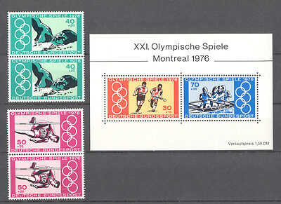 Germany - Set of vertical Pairs of Stamps and S/S MNH** 1976 Olympic Games