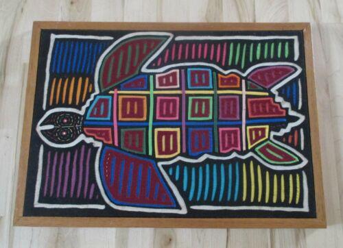 Vtg Mola Turtle Textile Folk Art Needlework Fabric Reverse Applique Frame
