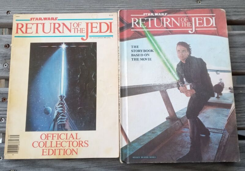 2 STAR WARS RETURN OF THE JEDI Books, Official Collectors Edition and Storybook