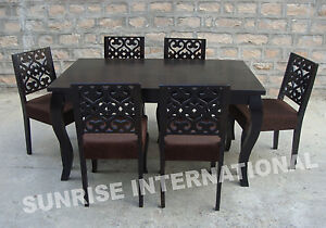 French Style Wooden Dining Table With 6 Cushion Chairs Furniture Set EBay