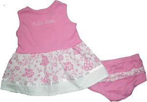 NEW-Calvin-Klein-CK-Pink-Floral-Dress-Top-Diaper-Cover-2pc-Set-Outfit-0-24M