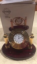 Linden Galaxy TGO-1349 Floating Dial Desk Clock Mahogany Base Brass Columns New