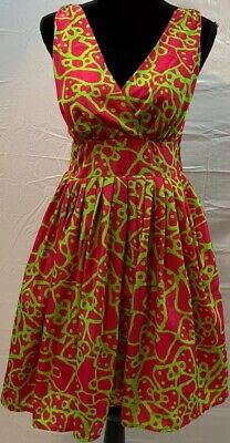 Aryeh Dress Size Small Pink Green Pleated Deep V-neck Women's Sleeveless EUC Deep V-neck Dress