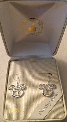Disney Sterling Silver Mickey Mouse  Icon Swirl Earrings New In Gift Box