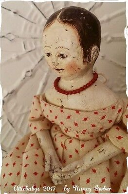 Primitive folk art Izannah Walker doll by Atticbabys antique fabric dress