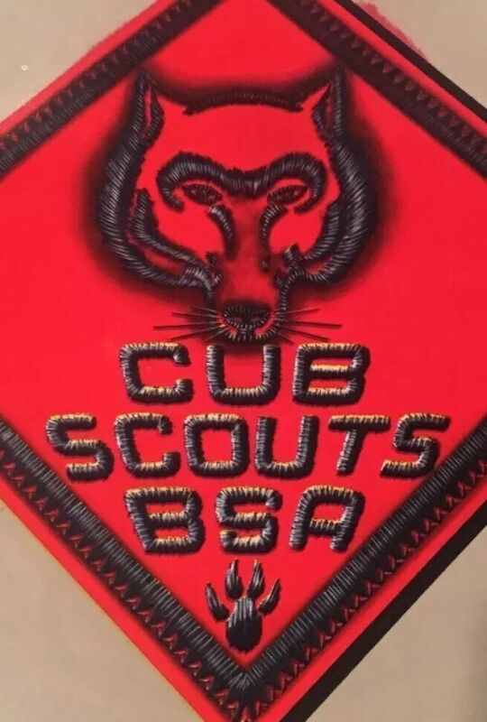 Vintage Cub Scout Red Wolf Insignia Color Poster Lithograph
