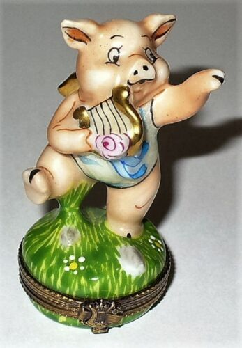 LIMOGES BOX - WHIMSICAL MUSICAL ANGEL PIG & LYRE - FLYING BALLERINA PIG & WINGS