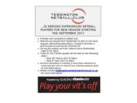 Teddington netball club are looking for new players