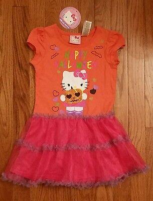 NWT GIRLS HELLO KITTY TUTU ORANGE SPARKLE HAPPY HALLOWEEN DRESS SZ 4T](Hello Kitty Happy Halloween)